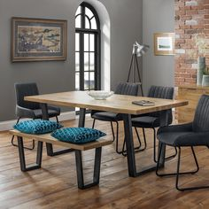 Brooklyn dining set with soho bench and 4 black leather chairs - 47833 modern, contemporary wooden dining table and 6 chairs sets. Solid Oak Dining Table, Dining Table With Bench, Wooden Dining Tables, Dining Table Chairs, Dining Furniture, Diy Furniture, Industrial Dining Chairs, Modern Industrial, Black Metal Dining Chairs