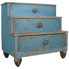 Vintage Furniture Early Century Miniature Chest in Original Blue Painted Finish - A very charming and unusual early century miniature step-back chest raised on tapered legs, with the original blue painted finish. A very special piece! Primitive Furniture, Primitive Antiques, Country Furniture, Furniture Projects, Antique Furniture, Painted Furniture, Modern Furniture, Furniture Design, Furniture Price