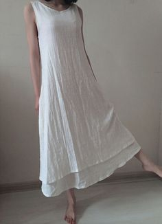 White linen dress maxi dress linen blouse by originalstyleshop, $56.99