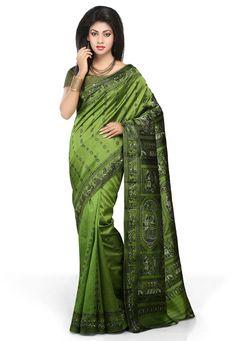 Buy Green Pure Silk Baluchari Handloom Saree with Blouse online, work: Hand Woven, color: Green, usage: Festival, category: Sarees, fabric: Silk, price: $212.00, item code: SHC73, gender: women, brand: Utsav
