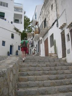 Walking up the steps of Ibiza Old Town