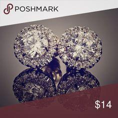 Women's 18K White Gold Plated Round Earrings Exquisite Stylish Special Design Women's 18K White Gold Plated Round Shining Stud Earrings earrings Jewelry Earrings