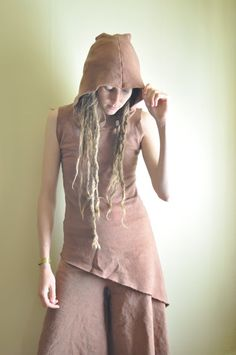 Lilac Hooded Tunic.  Earthy Brown Hemp and Organic by willowfern