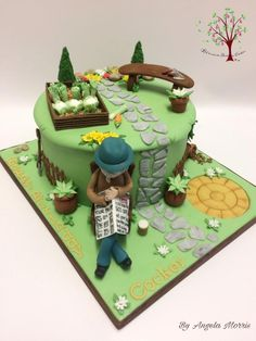 Gardening Cake by Blossom Dream Cakes - Angela Morris Garden Theme Cake, Garden Birthday Cake, 70th Birthday Cake, Garden Cakes, Birthday Cakes For Men, Farewell Cake, Camping Cakes, Vegetable Cake, Dad Cake