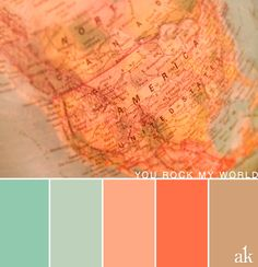 a globe-inspired color palette // pastels, light teal, peach, tan