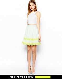 Image 1 of Ted Baker Stripe Skirt in Pleated Lace