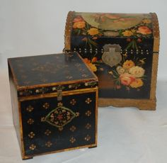 Two Painted Wood Boxes / Trunks