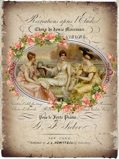 Printable, vintage women and flowers frame