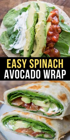 Need a quick and easy vegetarian dinner? This is the Best Spinach and Avocado Wrap loaded with spicy pepper jack cheese, fresh spinach, avocado and loaded with sour cream and salsa! vegetarian dinner Easy Spinach and Avocado Wrap Vegetarian Wraps, Easy Vegetarian Dinner, Vegetarian Recipes, Keto Dinner, Vegetarian Sandwiches, Going Vegetarian, Fish Dinner, Vegetarian Breakfast, Vegetarian Cooking