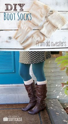 15 Cool Things to Make with Old Sweaters: Upcycle old or thrift store sweaters into these awesome diy boot socks.