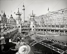 "New York circa 1905, Luna Park, Coney Island. ---When all the lights were on in your home, did your mom ever say, ""It's like Luna Park in here!!""?  Well, this is the place she was talking about."