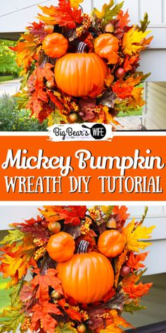 If you're crazy about the big Mickey wreaths that the Disney Parks decorate with you're going to love this Mickey Pumpkin Wreath DIY Tutorial! Now you can decorate your own home with a little Disney magic! for adults Mickey Pumpkin Wreath DIY Tutorial Holidays Halloween, Scary Halloween, Halloween Crafts, Mickey Halloween, Halloween 2020, Disney Diy Crafts, Disney Home Decor, Disney Parks, Disney Mickey