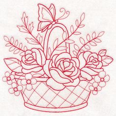 Nostalgic Nature - Basket with Butterfly (Redwork)