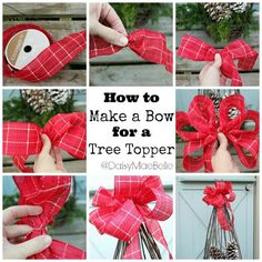 DIY Tree Topper Bow diy crafts christmas christmas crafts christmas decorations christmas decor crafts for christmas decorating for christmas christmas living rooms christmas home ideas christmas home decor ideas Christmas Tree Bows, Christmas Tree Toppers, Winter Christmas, Christmas Holidays, Christmas Decorations, Christmas Ornaments, How To Make Christmas Tree Bow Topper, Christmas Quotes, Xmas