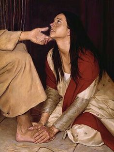 """""""When one of the Pharisees invited Jesus to have dinner with him, he went to the Pharisee's house and reclined at the table. A woman in that town who lived a sinful life learned that Jesus was eat… Pictures Of Jesus Christ, Bible Pictures, Lds Art, Bible Art, Mary Of Bethany, Image Jesus, Christian Artwork, Bride Of Christ, Prophetic Art"""