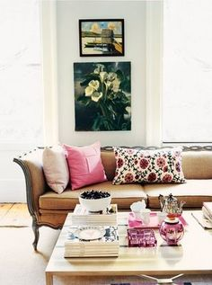 Madeline Weinrib Pink Sommers Suzani Pillow, as seen in Rita Konig's home