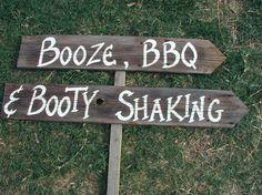 All the wedding reception essentials: booze, bbq, booty shaking   Credit: Craft Mart Texas/Etsy