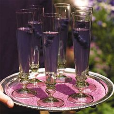 Brides Magazine: A Purple Party : Wedding Food & Drinks Gallery:  Champagne, Grape Juice and Blueberries    Reds and Purples Supper Club