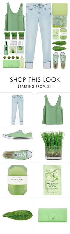 """""""Untitled #52"""" by junotsalis ❤ liked on Polyvore featuring Zara, Converse, MAC Cosmetics, Crabtree & Evelyn, Moleskine, Pelle, H&M, Abyss & Habidecor, Longchamp and Clinique"""