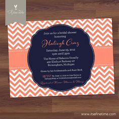 Bridal shower invitation blooms blossom navy blue coral bridal shower invitation or baby shower invitation preppy chevron modern navy blue peach coral diy printable filmwisefo