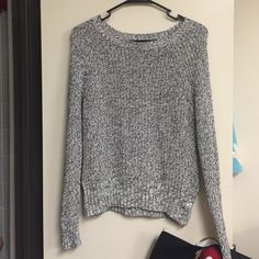 Black White Marled Sweater Knit sweater from American Eagle that's slightly cropped. Really cute with jeans! Accepting reasonable offers. American Eagle Outfitters Sweaters Crew & Scoop Necks