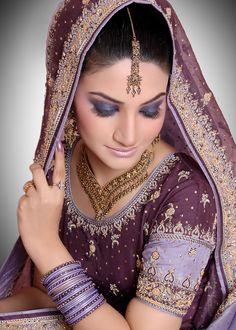 Bride in Purple dress