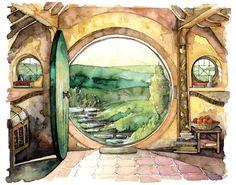 """Bolso fin de pintura - impresión de acuarela Original, """"en un agujero en el suelo"""", Señor de los anillos, el Hobbit, el Shire, Hobbiton,"""