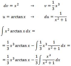 solving the integral of x^2·arctan(x) by parts