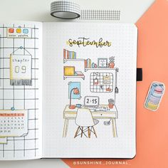 "Claudia | 17 | Bullet journal on Instagram: ""SEPTEMBER THEME REVEAL☀️ Since it's back to school season, I decided to do this stationery/desk/grid board theme! I really like the way it…"" Bullet Journal September, Back To School Bullet Journal, Bullet Journal Cover Page, Bullet Journal Writing, Bullet Journal Aesthetic, Bullet Journal School, Bullet Journal Themes, Bullet Journal Inspo, Journal Art"