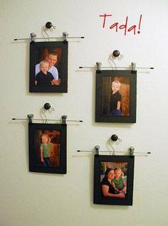 Amanda Creates: Sunday Home Decorating Picture Frame Display, Picture Frames, Picture Mounts, Display Photos, Hanging Kids Artwork, Unique Photo Frames, Clothes Basket, Clothes Hanger, Traditional Frames