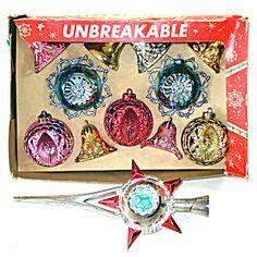 Box 1950s Bradford Plastic Christmas Ornaments