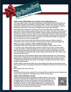 The Yankee Swap.   The ultimate classic holiday party game.   http://www.amazon.com/gp/richpub/listmania/fullview/R2OLD0FF7AYYEV?ie=UTF8