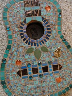 Mosaic Guitar in Turquoise and Brown by memoriesinmosaics on Etsy, $250.00