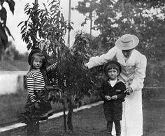 Grand Duchess Anastasia Nikolaevna, Tsarevich Alexei Nikolaevich and their nanny.