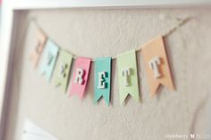 DIY name pennant. Great idea to create a pin board to display favorite Instagram/iPhone photos.