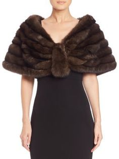Carmen Marc Valvo Sable Fur Stole- 7112style.website -