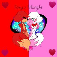 Fox x mengl Anime Fnaf, Anime Chibi, Fnaf Drawings, Cute Drawings, Mangle Fanart, Foxy And Mangle, Fnaf Sl, Kawaii Cute, Five Night