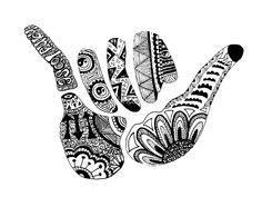 Shaka /// Hang Loose by alexavec Shaka Tattoo, Hawaiianisches Tattoo, Surf Tattoo, Piercing Tattoo, Tiki Tattoo, Maori Tattoos, Ear Piercings, Tribal Tattoos, Surf Stickers
