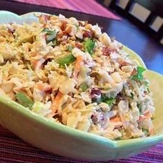 "Polynesian Coleslaw | ""This coleslaw is different that the garden-variety mayo version. It has very little fat and a very complex flavor."""