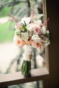 Bouquets Peach Blush Green White wedding bouquet peach wedding bouquet