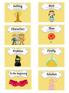 Follow the Yellow Brick Road story re-telling strategy.  Lots of cute printables:  anchor charts, smaller labels, graphic organizer!