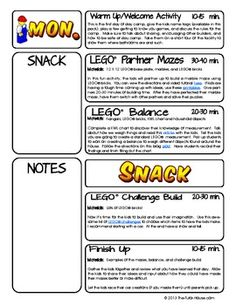 FREE LEGO Summer Day Camp Lesson Plans - this is pdf from ...