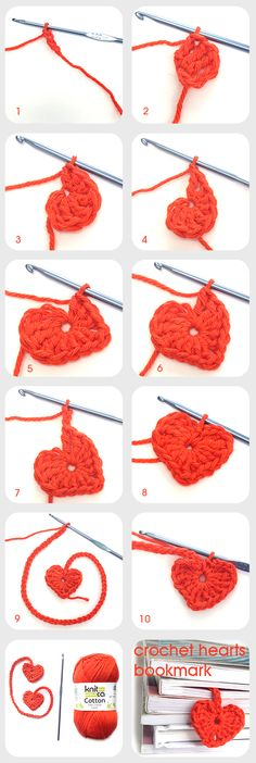 Crochet hearts bookmark : www.knitca.com