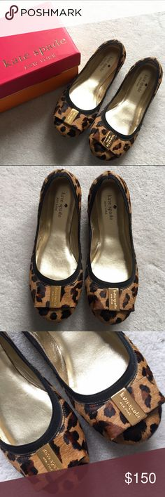 "kate spade Tock Bow Ballet Flat Leopard printed calf hair upper. Bow accent at front with golden metal logo plate. Elasticized collar. Leather insole and sole. Leopard style features real dyed calf hair, imported from Brazil.  Measurements: Sole height ¼""  Only worn once, indoors only. Excellent condition! Comes with box. NO TRADES! kate spade Shoes Flats & Loafers"