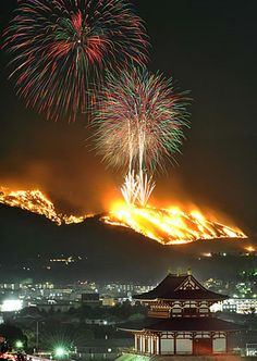 Burning of Mount Wakakusa Festival, Japan 若草山の山焼き