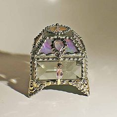 Swaroski crystal heart, Pink ripple glass - Jewelry box