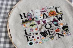 nanacompany's version of the Halloween Spooky Sampler Fabric Ribbon, Silk Ribbon, Halloween Cross Stitches, Halloween Pictures, Halloween Boo, Cross Stitch Designs, Cross Stitching, Textile Art, Needlework