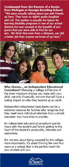 Summit Counseling Center College Prep Brochure Insert