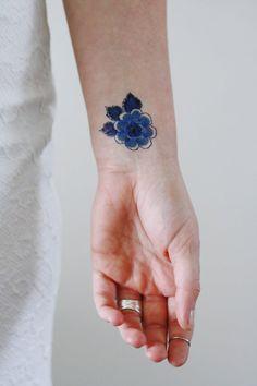 Delfts blauw floral tatouage / Delfts blauw tijdelijke tattoo