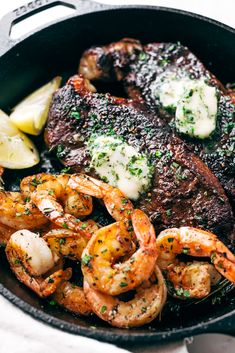 Garlic Butter Skillet Steak and Shrimp - tender cooked steak and juicy shrimp all smeared with homemade garlic butter. So easy to make and perfect for date night or even a weeknight dinner! Steak Recipes, Shrimp Recipes, Cooking Recipes, Healthy Recipes, New York Strip Steak, Steak And Shrimp, Good Food, Yummy Food, Yummy Lunch